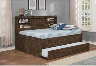 Harriet Bee Basinger Full Mate's Bed with Bookcase, Drawers and Trundle Harriet Bee Bed Frame Color: Chestnut