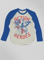 Junk Food Clothing Kids Boys Action Heroes Raglan-fg/lb-l