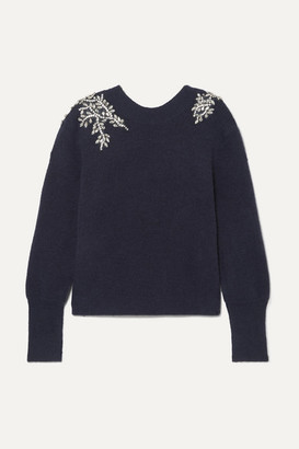 Veronica Beard Valerie Crystal-embellished Knitted Sweater - Navy