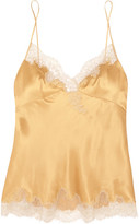 Carine Gilson Embroidered Lace-trimmed Silk-satin Camisole - Gold