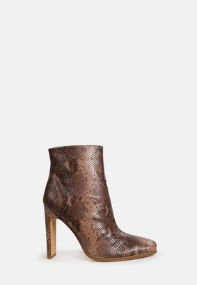 Missguided Tan Croc Snake Effect Heeled Ankle Boots