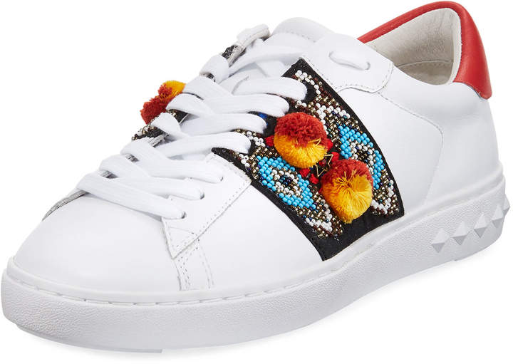 Ash Embroidered Leather Platform Sneakers