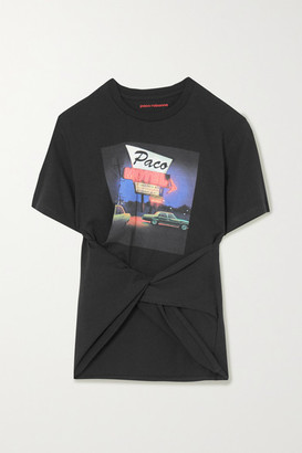 Paco Rabanne Twisted Printed Cotton-jersey T-shirt - Black