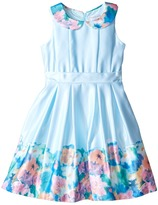 Us Angels Matte Satin Sleeveless Peter Pan w/ Photo Reel Border Dress (Toddler/Little Kids)