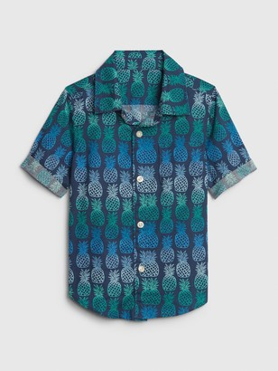 Gap Toddler Print Short Sleeve Poplin Shirt