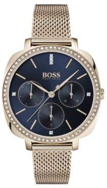 BOSS Carnation-gold-plated crystal-trimmed watch with mesh bracelet