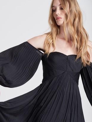 Halston Off Shoulder Pleated Foiled Dress