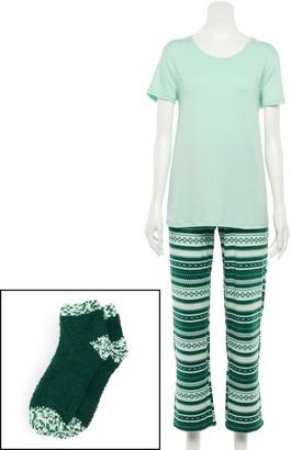 Croft & Barrow Women's Short-Sleeve Pajama Tee, Pajama Pants & Socks Set