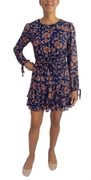 City Studios Juniors' Ruffled Chiffon Fit & Flare Dress