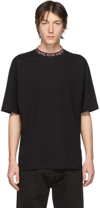 Acne Studios SSENSE Exclusive Black and Pink Logo Neck T-Shirt