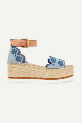 See by Chloe Embroidered Laser-cut Suede And Leather Espadrille Wedge Sandals - Light blue