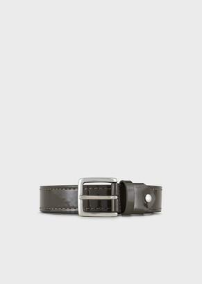 Emporio Armani Faux Patent-Leather Belt