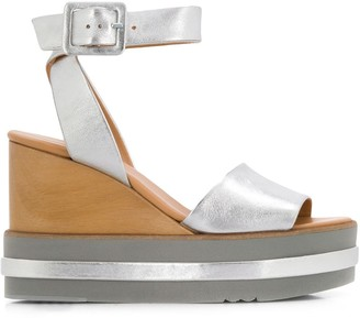 Paloma Barceló Metallic Wedge Sandals