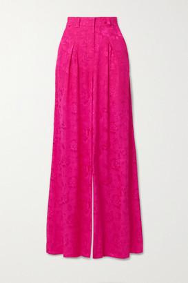 STAUD Serge Floral-jacquard Wide-leg Pants - Fuchsia