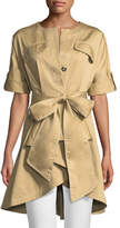 Badgley Mischka Safari Self-Tie High-Low Jacket
