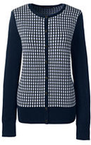 Classic Women's Petite Supima Jacquard Cardigan Sweater-Radiant Navy Jacquard