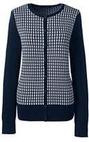 Lands' End Women's Supima Jacquard Cardigan Sweater-Burgundy Colorblock