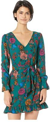 BB Dakota Petal Down Whimsical Wallflower Printed Crepe de Chine Dress (Hunter Green) Women's Dress