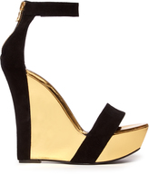 Balmain Bi-colour leather and suede wedge sandals