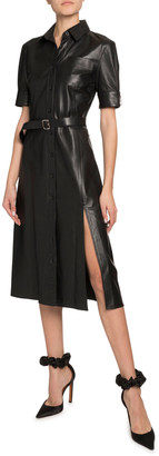 Altuzarra Kieran Leather Short-Sleeve Shirtdress