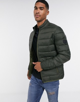 Jack and Jones Essentials puffer jacket with collar in green