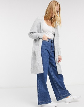 Selected anna long line cardigan in gray