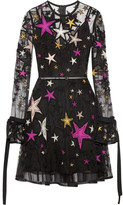 Elie Saab Embellished Appliquéd Tulle Mini Dress - Black