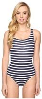 Tommy Bahama Breton Stripe Laced-Back One-Piece Swimsuit
