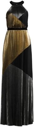 BCBGMAXAZRIA Metallic Sunburst Pleated Halter Gown