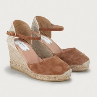 The White Company Suede Round Wedge Espadrilles, Tan, 36