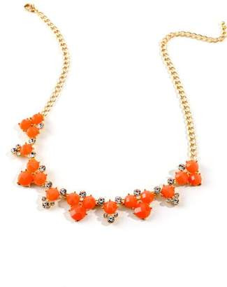 francesca's Emily Circle Cluster Statement Necklace in Coral - Neon Coral