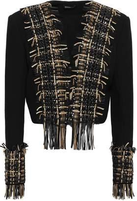 Balmain Leather-trimmed Embellished Wool And Silk-blend Jacket