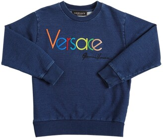 Versace Logo Embroidery Cotton Sweatshirt