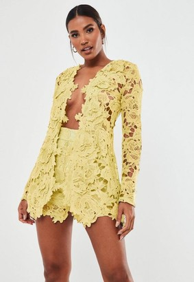 Missguided Lemon Co Ord Crochet Lace Blazer