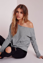 Missguided Raw Edge Cropped Sweatshirt Grey
