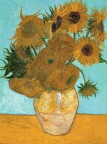 Spiffing Prints Vincent Van Gogh - Still Life - Vase with Twelve Sunflowers, 1889 - Extra Large - Semi Gloss - Brown Frame