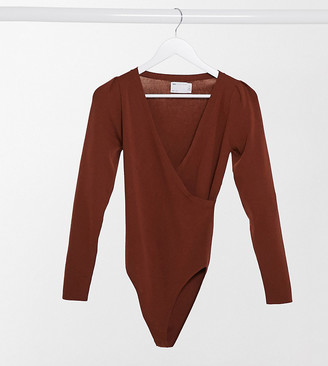 Asos Tall ASOS DESIGN Tall knitted bodysuit with wrap detail in brown