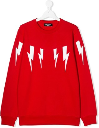 Neil Barrett Kids TEEN thunderbolt print sweatshirt