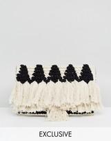Reclaimed Vintage Inspired Straw Tassel Clutch Bag
