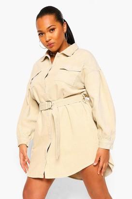 boohoo Plus Cord Volume Sleeve Belted Mini Dress