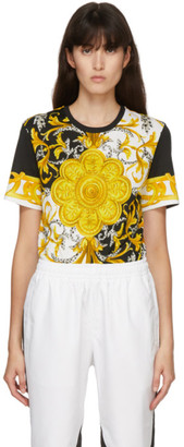 Versace White and Yellow Barocco T-Shirt