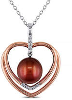 Concerto 5.5-6mm Brown Round Pearl Two-Tone Sterling Silver Heart Necklace with 0.05 TCW Diamonds