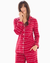 Soma Intimates Long Sleeve Notch Collar Pajama Top Merry & Bright Words Ruby