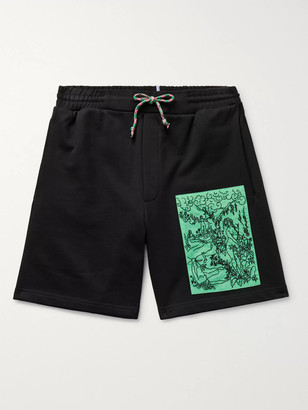 McQ Appliqued Loopback Cotton-Jersey Drawstring Shorts