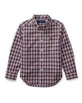 Ralph Lauren Poplin Plaid Button-Down Shirt, Red Pattern, Size 5-7