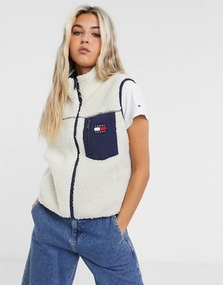 Tommy Jeans flag pocket Sherpa sleeveless vest in ecru