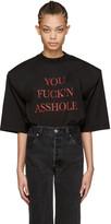 Vetements Ssense Exclusive Black you Fuckn Asshole Football Shoulder T-shirt