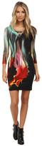 Just Cavalli 3/4 Sleeve Jersey Dress w/ V-Neck Cutout