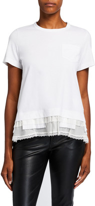 Sacai Ruffle-Hem Crewneck Short-Sleeve Cotton Tee