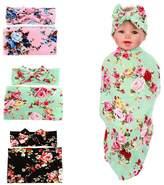 YallFF 3 PACK Newborn Baby Swaddle Blanket&Headband Sets